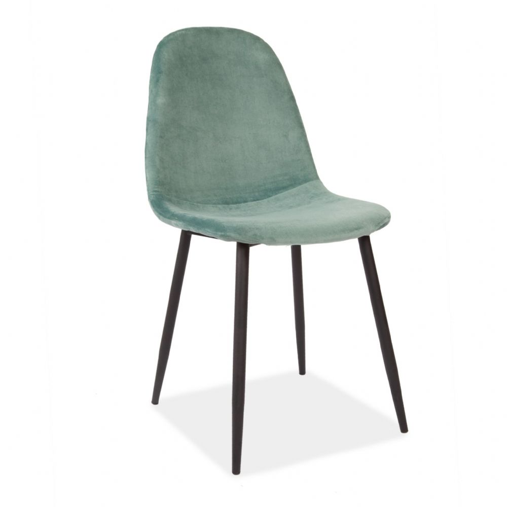 x4 Mmilo Upholstered Eiffel Dining Chair Black Legs -Teal